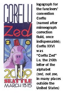 Logograph for the fanziners' convention Corflu.  Corflu XXVI was Corflu Zed, i.e. the 26th letter of the alphabet.